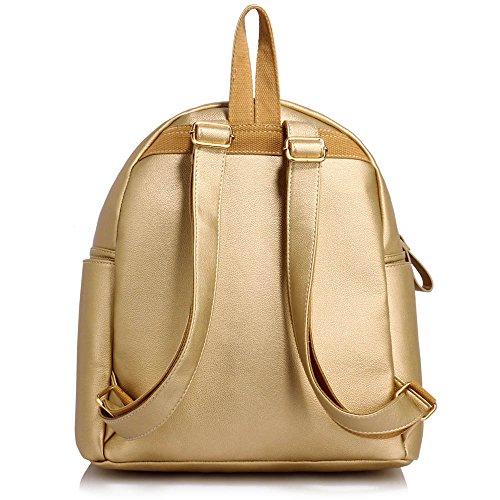 TrendStar Greeniris Damen Mode Rucksack Kunstleder Rucksack für Frauen/Mädchen im Teenageralter A - Gold