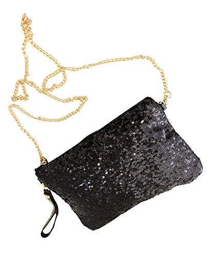 niceeshop(TM) Vintage Paillett Party Abend Tasche Kupplungs Handtasche, Schwarz (Schwarze Handtasche Tasche Abend)