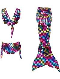 Disfraz de sirena Niña Bikini Swimsuit Kids 3pcs Ropa de baño Cosplay Disfraz