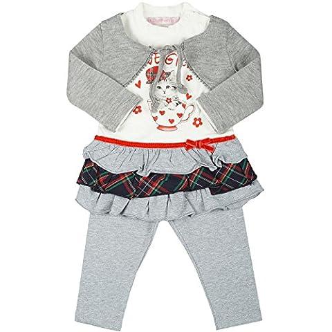 Kinder Baby Mädchen Kleidung Geschenk Paket Set 3 tlg Kleid Bolero Leggings 20332, Farbe:Grau;Größe:24