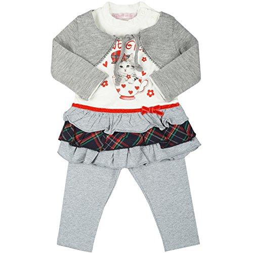 Kinder Baby Mädchen Kleidung Geschenk Paket Set 3 tlg Kleid Bolero Leggings 20332, Farbe:Grau;Größe:24 (Youtube Minions Kostüm)