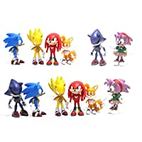6PCS Sonic Hedgehog Cake Topper and Cup Cake Topper, Sonic Hedgehog Birthday Party Cake Decorations, Sonic Hedgehog Action Figure Toys and Collectibles