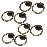 sourcingmap® 8Stk Möbel Schubladen Tür Retro Stil Ring Ziehen Griffe Bronze 52x43x13mm