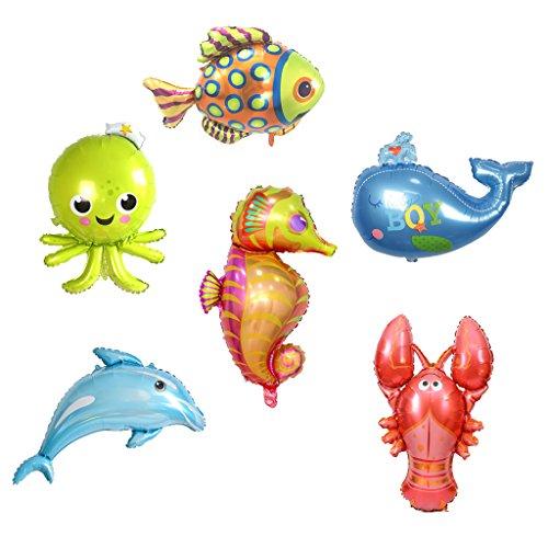 D DOLITY 6x Helium Ballon Luftballon Folienballon Dekoration Ballon Kinder Spielzeug, Fisch Krabben Seepferdchen Tintenfisch Wal und Delfine
