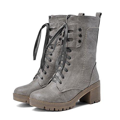 AllhqFashion Damen Mittler Absatz Blend-Materialien Mittler Kalb Rein Schnüren Stiefel, Schwarz, 42