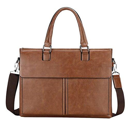 Yy.f Multi-stile Retrò Borsa Informale Casual Moda Business Briefcase Borsa In Pelle Borsa Da Viaggio Classica E Pratica. 3 Colori Khaki