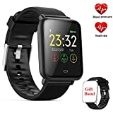 Fitness socken, Fitness Tracker mit Pulsmesser Aktivitätstracker, Herzfrequenzmonitor, Farbbildschirm Bluetooth Smart sockenuhr Schrittzähler, Smart Watch IP67 Wasserdicht SchlafMonitor (Q9-Black)
