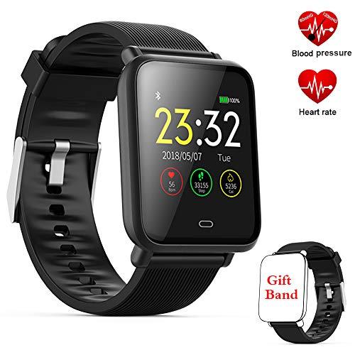 Fitness Tracker Watch, Activity Tracker Smartwatch con Monitor de presión Arterial de frecuencia cardíaca, podómetro Watch con Monitor de sueño Contador de calorías Contador de Banda Inteligente