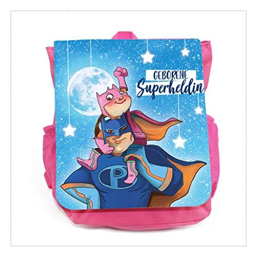 Wandtattoo-Loft Kinder Rucksack Geborener Superheld/Superheldin - Mädchen - Rosa