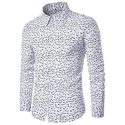 Oneforus Hombre Casual de Manga Larga Delgado Clubwear Tops, Elegante Camisa de Punto de Onda Impresa