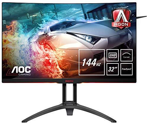 AOC AGON AG322QC4  80 cm (31,5 Zoll) Curved Monitor (HDMI, DisplayPort, USB Hub, FreeSync2, HDR 400, 4ms Reaktionszeit, 2560x1440, 144Hz) schwarz/rot