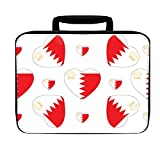 Bahrain Royal Standard Country Flag Hearts Insulated Lunch Box Bag