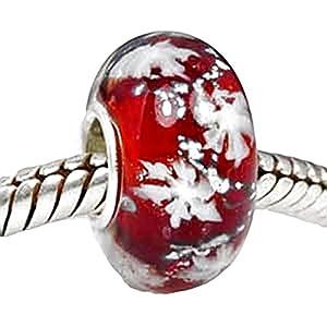 Charm Buddy Glasperle mit Sterling-Silber Innerem, Weihnachtsdesign: Rot / Schneeflocke, geeignet für Pandora / Troll Armbänder