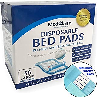 Medokare Disposable Incontinence Bed Pads - Hospital Grade 1500ml Underpads for Elderly Adults Kids Disposable Bed Mats Liner, 10g SAP Waterproof Pads for Bed, Mattress Protector (36Pads w/Tags)