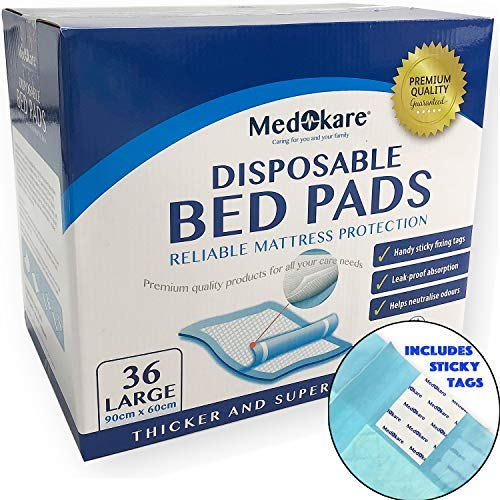 Medokare Disposable Incontinence Bed Pads, Hospital 1500ml Disposable Underpads for Elderly Adults Kids Disposable Bed Liner Mat, 10g SAP (36Pads w/Tags)