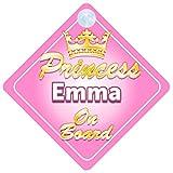 Pancarte pour voiture avec inscription «Princess Emma On Board»