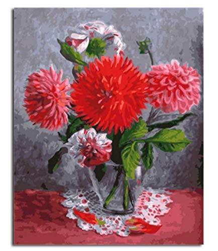 Delilah Blumen (Artshdow Rote Delilah Blumenvase Malen Nach Zahlen Auf Leinwand DIY Kit)