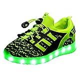 LED Leuchtende Bunte Sneaker Turnschuhe Unisex Kinder Jungen Mädchen USB Auflade Sportschuhe Leichte Schuhe 1832 Grün 37