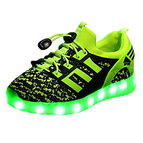 Yeeper LED leuchtende Bunte Sneaker Turnschuhe Unisex Kinder Jungen Mädchen USB Auflade Sportschuhe leichte Schuhe 1832 Grün 31