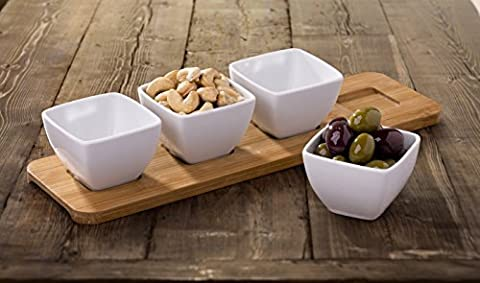 4 Piece White Porcelain Dip Bowls on Wooden Tray by
