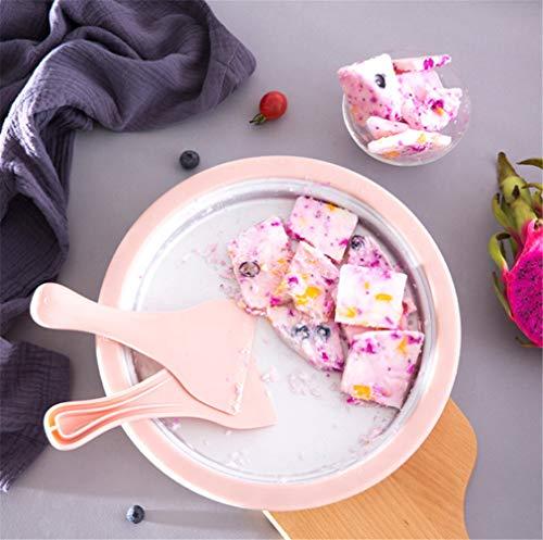 ELEGENCE-Z Mini Gebratene Eismaschine, Home Gebratene Joghurtmaschine Gebratene Eismaschine Kleine DIY Kinder Eismaschine Mini Free Plug-in Gebratene Eiswürfelschale Pink -
