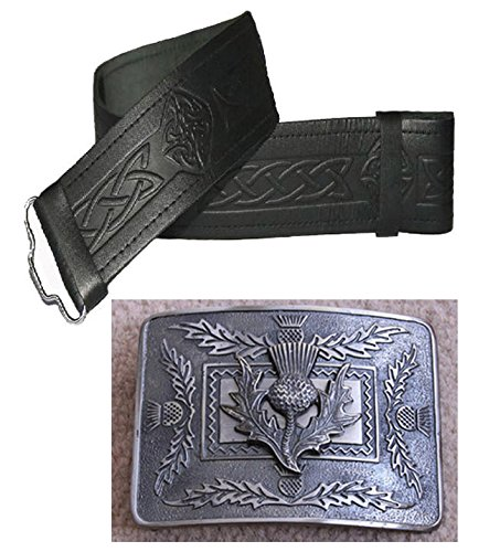 Leather Kilt Belt and Buckle - Many Sizes and Designs to choose from