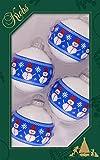 Original Lauschaer Árbol de Navidad–Juego de 4bolas con Hombres de Nieve, 7cm.