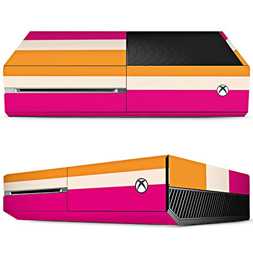 Microsoft Xbox One Design Skin Folie Aufkleber - Blockstreifen Pink - Nude - Orange -