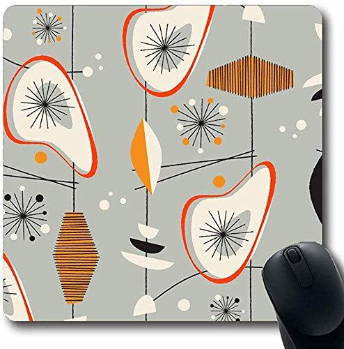 Mauspads für Computer Lounge Retro Vintage Muster Abstrakter Stil Modern Century Mid Shape Design Amöbe Längliche Form Rutschfeste Längliche Gaming Mausunterlage 30X25CM -