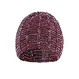 BURFLY Herren Damen Winter Baggy Warm Crochet Wool Gestrickte Unisex Baseball Ski Slouchy Caps Hut (Weinrot)