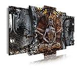 DekoArte 83 - Cuadro moderno en lienzo 5 piezas buda zen buda feng shui, 150x3x80cm
