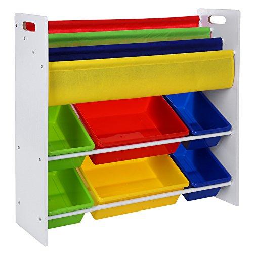 Songmics Kinderregal Bücherregal Holz Aufbewahrungsregal 6 Kästen aus Kunststoff pflegeleicht (weiß) GKR03W