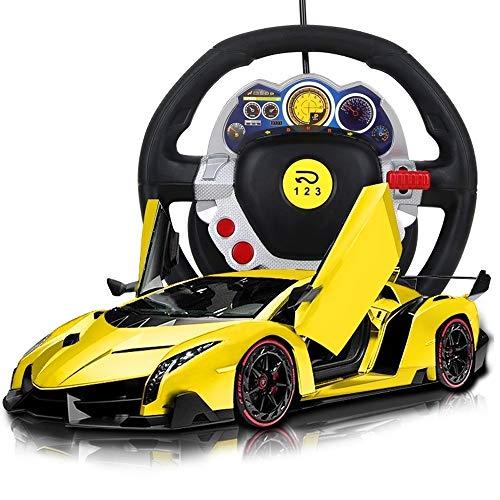PETRLOY Gelb Drift Racing High-Speed-Fernbedienung Racing Mit LED-Scheinwerfern Supersportwagen 2,4 GHz Lenkradfernbedienung Kann Die Tür Fahren 1:12 Maßstab Supersportwagen Kinderspielzeugauto