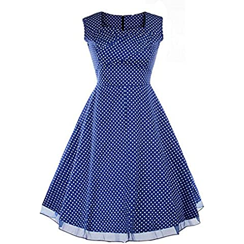 Possec Las mujeres del verano vestido retro 50s Hepburn de viento dominante de la cintura falda grande
