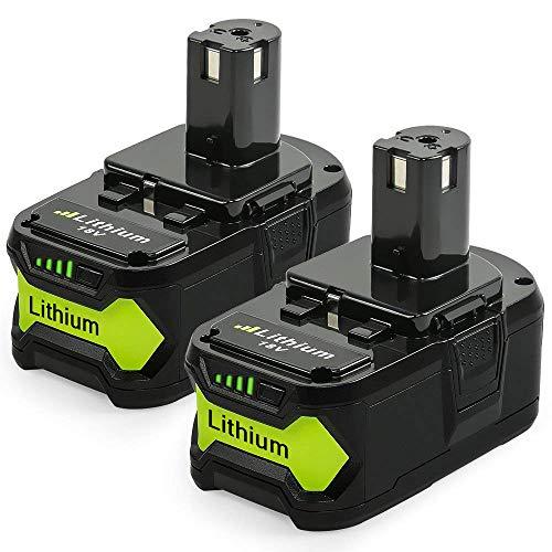 [2 Stück] YBang P108 18V 5.5AH Lithium-Batterie mit Ladeanzeige für Ryobi ONE + Compact Ersatz P107 P122 P104 P105 P102 P103 (Ryobi 18v Akku-p122)