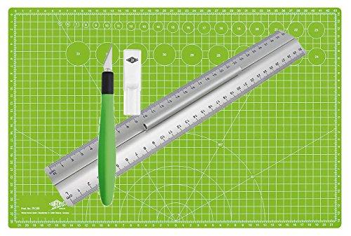 Wedo Pro Cutting Set | Lineal aus Aluminium 30 cm mit Griff für Rechts- und Linkshänder mit rutschsicherer Gummieinlage im Set mit Cutter Skalpell Comfortline mit Softgriff inklusive 5 Ersatzklingen und Schutzkappe und selbst schließender Schneidunterlage (Lineal, Cutter)