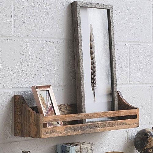 Handgefertigt Gebeizt (Rustikal Holz Wandregal 61cm verwitterter handgefertigt wieder Stil Holz Multi Zweck Wand Rack Regal Nussbaum dunkel gebeizt)