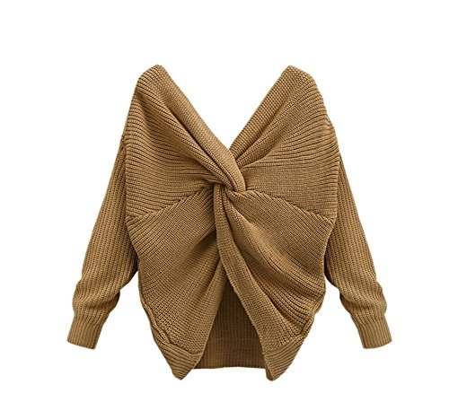 YOUJIA Damen Sweater Backless Cross Wrap V-Ausschnitt Strickpullover Jumper Bluse Top 4