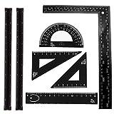 7-teiliges Aluminium-Lineal für Architekten, dreieckig, 2 Stück, 30,5 cm Maßstab, 5 Stück Aluminiumdreieck, Winkelmesser-Set für Studenten, Zeichner und Ingenieure