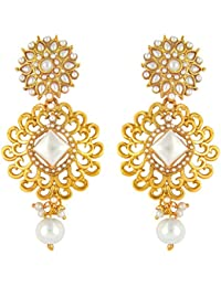Long Traditional Ethnic Gold Plated Dangler Earrings With Artificial Pearl By Parisha Jewells ER7090021