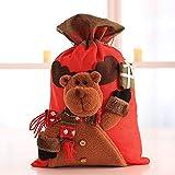 JUNMAONO 1 Stück Kinder Weihnachtsdekoration Geschenktüte Liefert Candy Stofftasche Tragetaschen Weihnachten Tragbar Apfelbeutel Aufbewahrungstasche Handtasche (Elch, 56 * 35CM)
