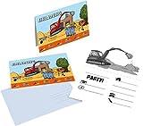 16-tlg. Einladungs-Set BAUSTELLE für Mottoparty und Kindergeburtstag