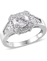 J FRANCIS Women Platinum Plated 925 Sterling Silver Made with Swarovski® Crystal Solitaire Ring Size O