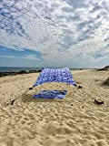 Neso Tente de Plage de Tente de avec l'ancre de Sable, Sunshade portative d'auvent - 2.1m 'x 2.1m - Coins renforcés par Brevet (Shibori)