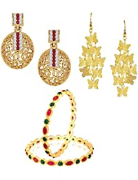 VK Jewels Gold And Rhodium Plated Alloy Bangle & Earrings Combo Set For Women & Girls - COMBO1517G [VKCOMBO1517G]