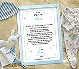 Patenbrief, Taufbrief als Geschenk zur Taufe für Patenkind von Taufpate zur Erinnerung für den Täufling, personalisierbar auf Papier & Leinwand