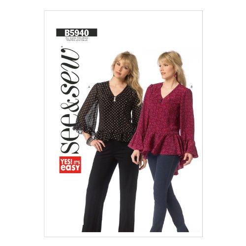 Butterick Patterns B5940 - Patrones e instrucciones para hacer camisas de mujer (tallas XS, S, M, L XL y XXL), color blanco