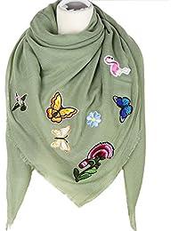 caripe XXL Damen Schal Halstuch groß quadratisch Patches Schmetterling Stern Glitzer - PS aplika1