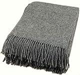 Zaloop Wolldecke 100% Schurwolle in versch. Farben und Größen Schurwolldecke Plaid (dunkelgrau, ca. 140 x 200 cm)