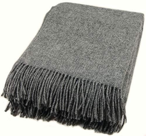 Zaloop coperta 100% pura lana vergine in tenendo. coperta plaid vergine colori e misure, grigio scuro, circa 140 x 200 cm